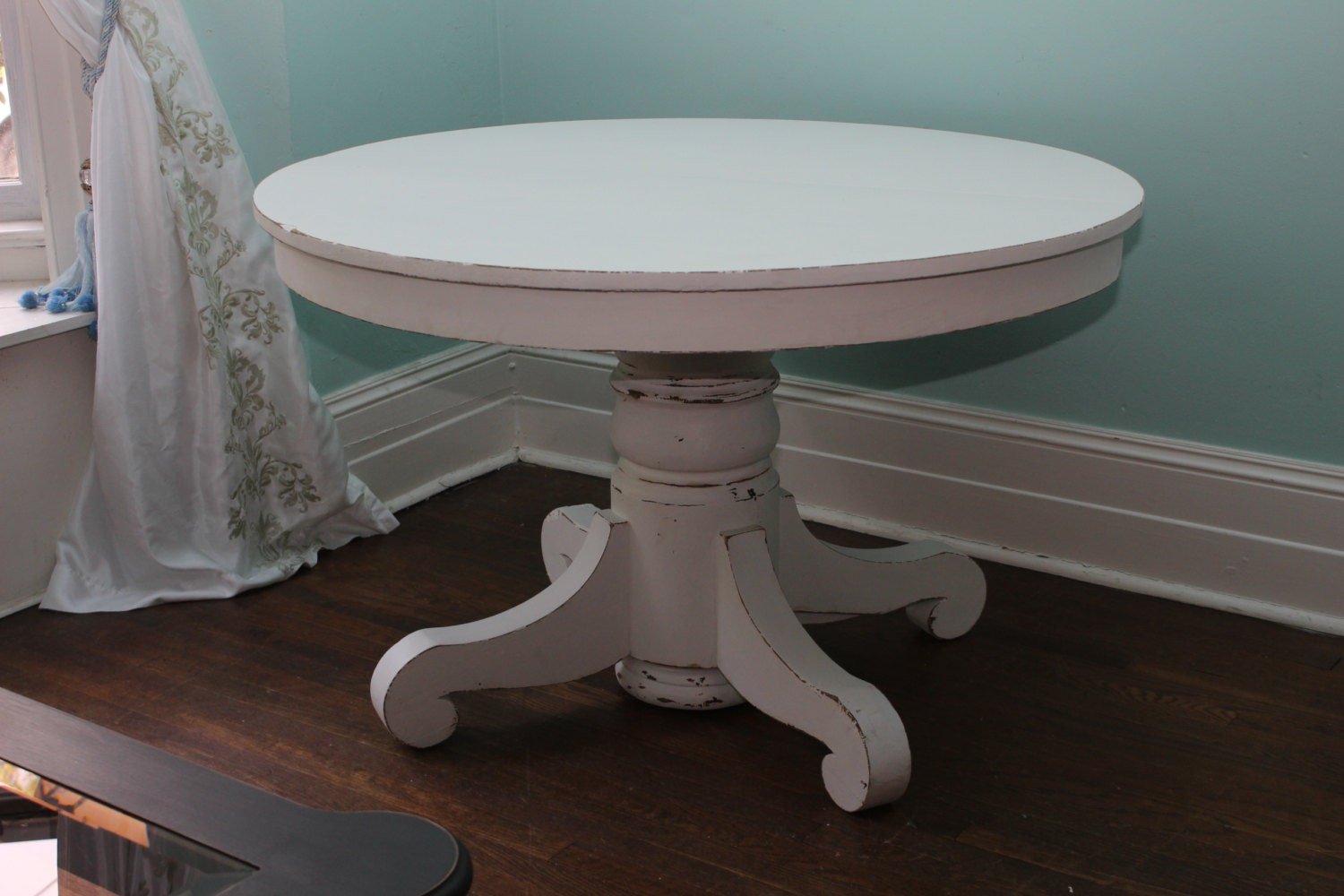 Custom order antique dining table white distressed shabby chic for Distressed round dining table