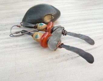 Long Tribal Copper Earrings with African Trade, Indonesian Glass and Carnelian Beads