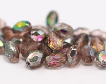 10 Pcs Ab Czech Glass 8x6 Mm Faceted Oval Beads Cf-04
