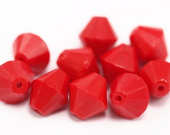 10 Red Czech Glass 11 Mm Faceted Cubic Beads Cf-14