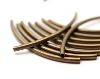 30 Antique Brass Curved Tube Findings (55 x 3 mm)   BRC307
