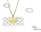 Tiny Whale Necklace, gold silver plated minimalist pendant charm jewelry,  girls children kids jewelry