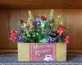 "Country Primitive bright and cheery floral ""Morning Roast"" arrangement"