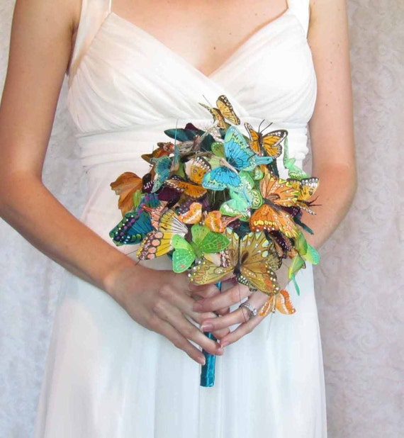 Butterfly Wedding Bouquet In Teals Greens Oranges And By