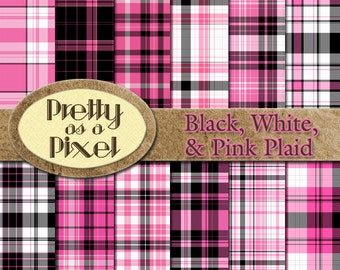 Digital Paper Pack - Black, White, & Pink Plaid - Scrapbooking Backgrounds - Set of 12 - INSTANT DOWNLOAD