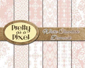 Digital Printable Scrapbook Paper Pack - White Chocolate Damask - 12 x 12 - Set of 12 - INSTANT DOWNLOAD