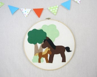 Wall Décor -  Ponies - Children, Fiber, Illustration, Nursery, Gift