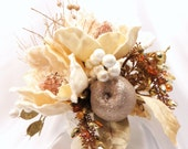 Victorian Style Ivory Velvet Magnolia Silk Floral Arrangement in Vintage Container with High End Victorian Beaded Accents
