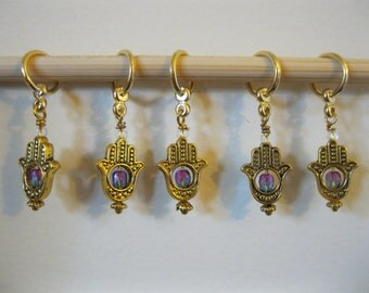 Hamsa Hand Stitch Markers with Gradient Beads, snag-resistant