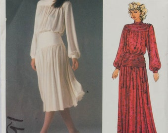1980s Dress Pattern Vogue American Designer 1591 John Anthony Dirndl skirt Hip yokes for smooth fit blouson bodice Size 8 Bust 31.5 inches,