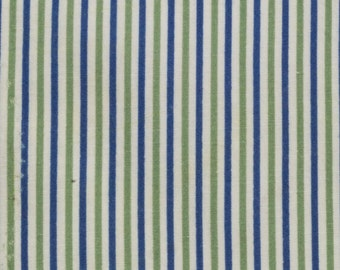 Vintage Sugar Sack, White White Blue and Avocado Green Thin Stripes, 24 x 25 inches, Feed or Flour Sack