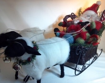 "Santa and Ewes Sleigh Ride Felted Wool - 14"" Sleigh"