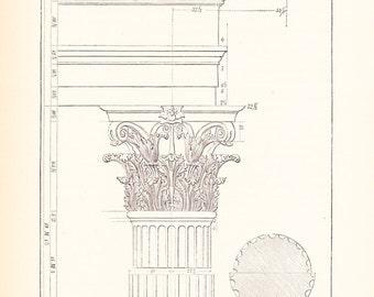 1885 Technical Drawing - Column - Antique Math Geometric Drafting Interior Design Blueprint Art Illustration Framing 100 Years Old