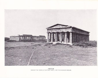 1903 Architecture Photograph - Paestum Temple - Vintage Antique Art Print History Geography Great for Framing 100 Years Old