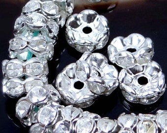 AA 8mm Silver Rhinestone Rondelle Beads (30pc) (p023)