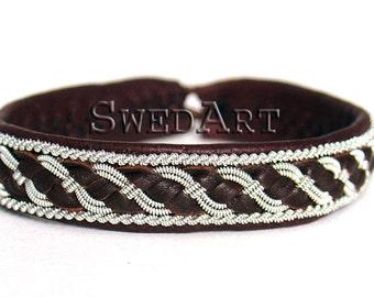 SwedArt B04 Bear Lapland Sami Leather Bracelet Pewter and Silver Braid Antler Button Dark Brown X-SMALL