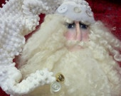 Made to Order-Primitive Santa Doll in Vintage White Chenille and Loads of Extras