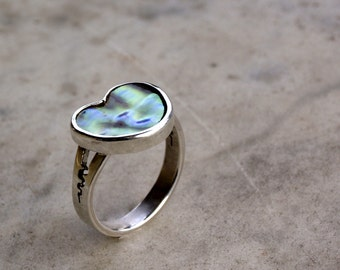 Sterling silver Heart ring, valentine jewelry with french mother of pearl, romantic gift for her, unique fashion jewelry