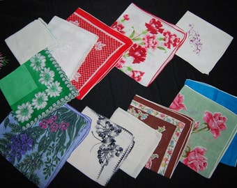 Vintage Hankies Charming Mix Up of Twelve