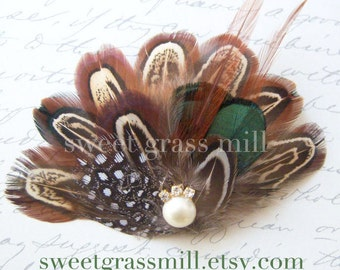 Feather Headband - PEMBERLEY BELLE - Pheasant & Guinea Feathers - Choose Headband or Clip or Brooch
