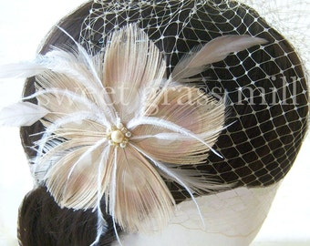 "Fascinator & Veil Set - Beige Bleached Peacock Ostrich Feather ""Champagne Boheme"" Great Gatsby Headpiece and Birdcage Veil"