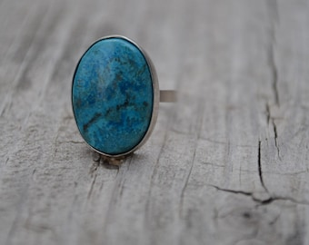 Sterling Silver Oval Ring Blue Stone Size 4 usa sizing Ready to Ship