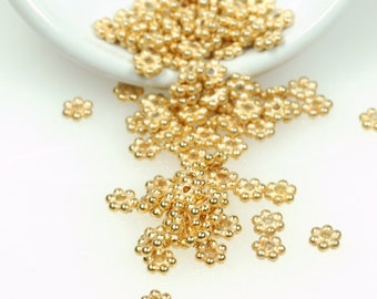 25 pcs -24k Gold VERMEIL 3.5mm Daisy Spacers Bali spacer beads