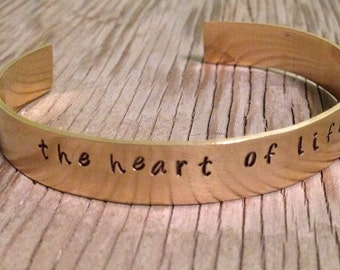 custom brass bracelet hand stamped jewelry with words of your choice personalized cuff bracelet