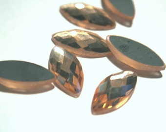 Large Faceted Navette Stones - Glass Cabochon - Electroplated, Multiple Color choice  - Crystal  Antique Rose pink  23x10mm