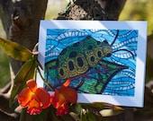 Blank Greeting Card - Jewel Beetle mosaic