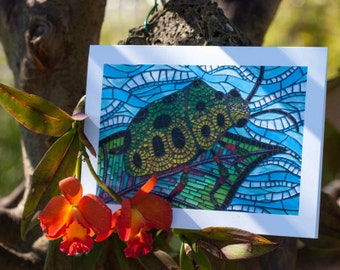Blank Greeting Card - Jewel Beetle mosaic