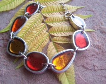 Vintage Bracelet  French Resin Geo Mod Reversable in Autumn tones of red and orange black on the back Resin Jewelry