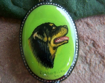 Supplies Russian Lacquer Rollweiler Bead , premade drop Fine Quality Hand painted Russian Black Lacquer