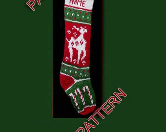 Hand knit Christmas stocking,  pattern only, reindeer and candy canes