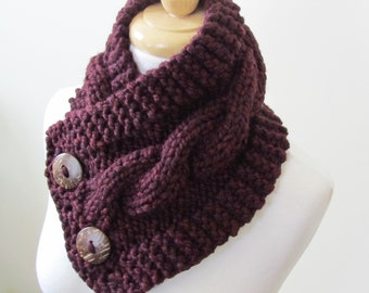 "Knit Neck Warmer, Cable Knit Scarf,  Chunky Warm Winter Scarf in Claret 6"" x 25"" Coconut Shell Buttons Ready to Ship - Direct Checkout"