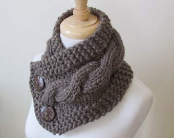 "Knit Neck Warmer, Cable Knit Scarf,  Chunky Warm Winter Scarf in Taupe 6"" x 25"" Coconut Shell Buttons Ready to Ship - Direct Checkout"