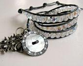 Handmade beaded leather wrap ladder bracelet or necklace. Triple, AB, gunmetal, black, bling, goth, BOGO