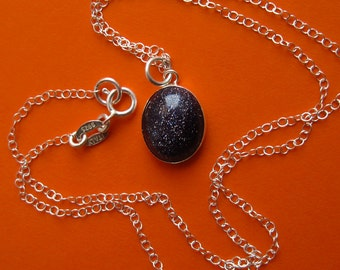Stardust -- Sterling Silver Bezel Set Blue Goldstone Necklace
