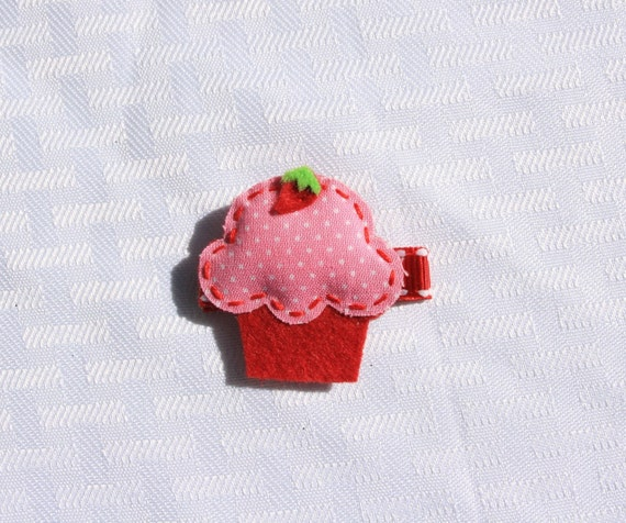 SALE-- Strawberry Cupcake Clippie, Pink and Red Hair Clip LAST ONE