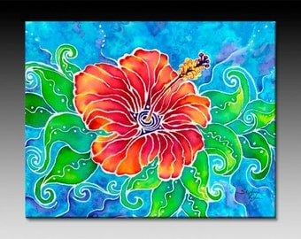 Tropical Hibiscus Ceramic Tile Wall Art