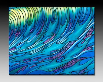 Waves of the Dolphin Ceramic Tile Wall Art