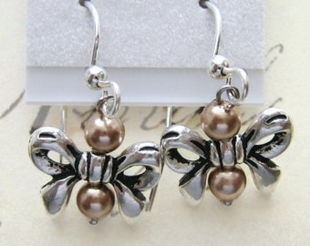 Swarovski Crystal Pearls and Bow Earrings, Sterling Silver Earwires,
