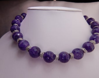 Statement Amethyst and Sterling Silver Necklace