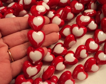 Red & White Glass Lampwork Hearts - 20mm - Sold per strand