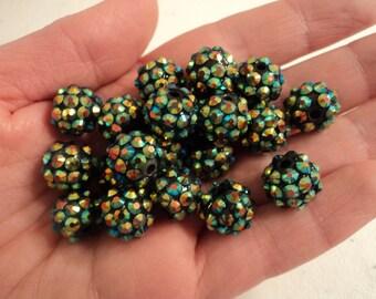 Resin Rhinestone Beads - Dark Green with A/B - Set of 10 - #RR133