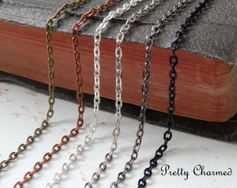 100 Oval Link Chain Necklaces - 24 inches - Mix and Match Antique Bronze, Antique Copper, Silver, Gunmetal, Black