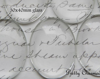25 - 30x40mm Oval Clear Glass Cabochons for Bezels - Pendant Blanks