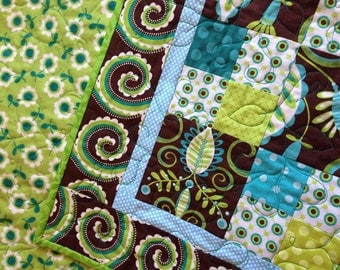 99 Dollar Quilt sale- Whimsy Doozie- aqua, green, and brown baby quilt- was 109.00