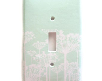 Mint Switchplate Cover - Queen Annes Lace  - Light switch double - rocker cover -Custom Colors