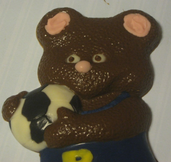 Solid chocolate teddy bear soccer player candy or cake topper